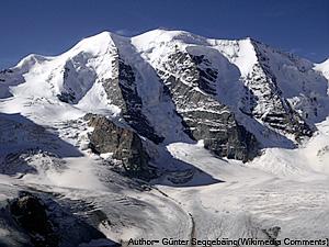 Aufnahme des Piz Palü (3902m) von der Diavolezza Hütte